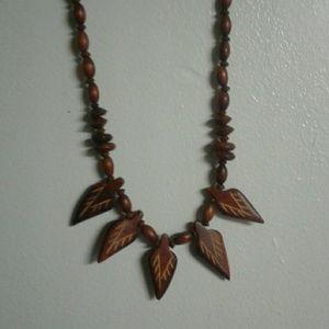 Vintage Handcarved Wooden Necklace Handcrafted